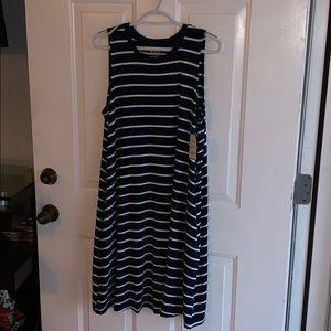 Navy and white stripe dress NWT